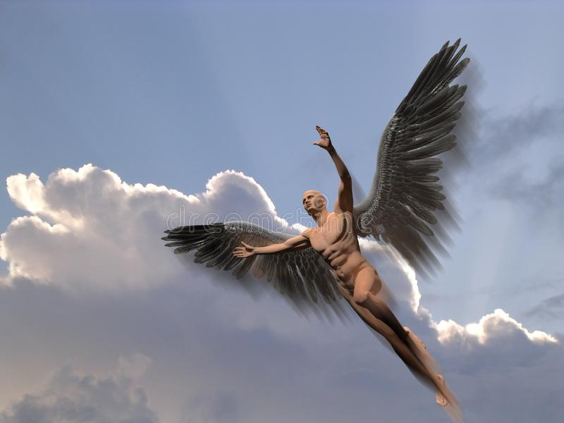 Angel. Naked man with white wings in cloudy sky symbolizes angel. Human elements were created with 3D software and are not from any actual human likenesses vector illustration