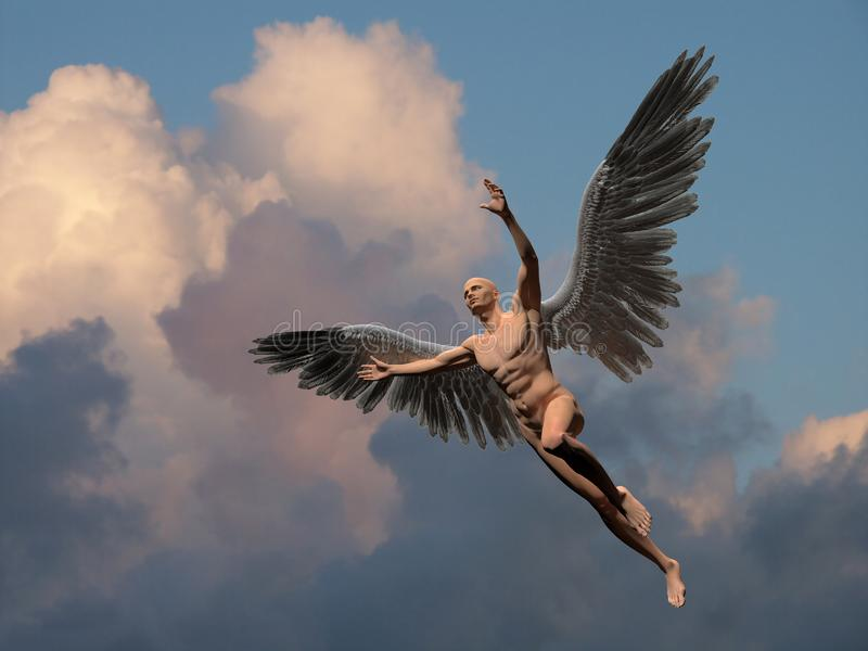 Angel. Naked man with white wings in cloudy sky symbolizes angel. Human elements were created with 3D software and are not from any actual human likenesses stock illustration