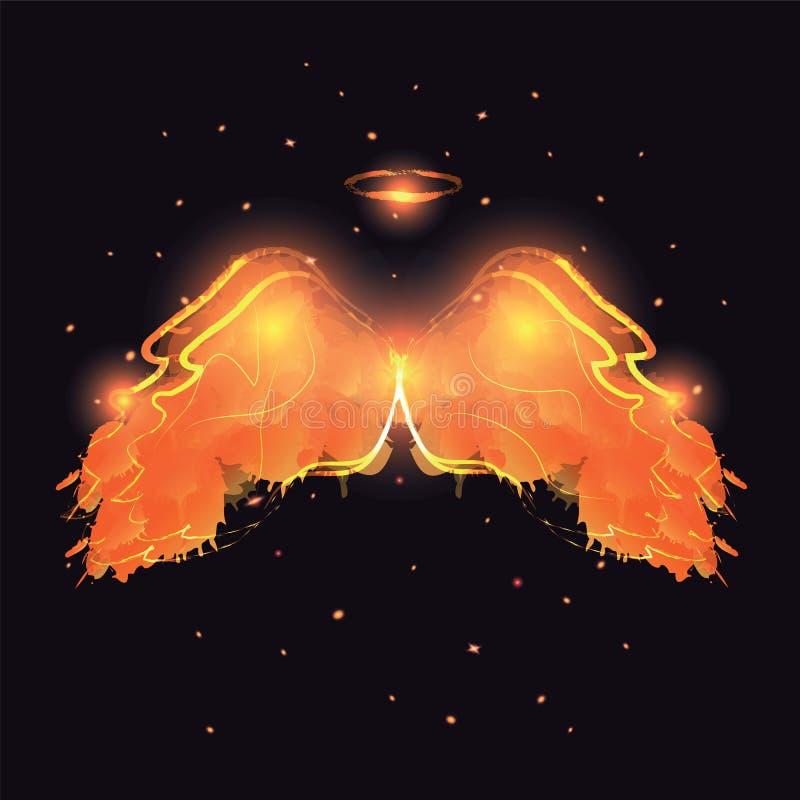 Angel nimbus and wings on black background. royalty free illustration