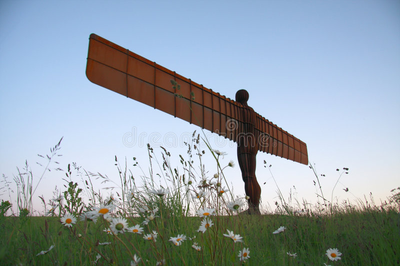 Angel of the North and Flowers royalty free stock image