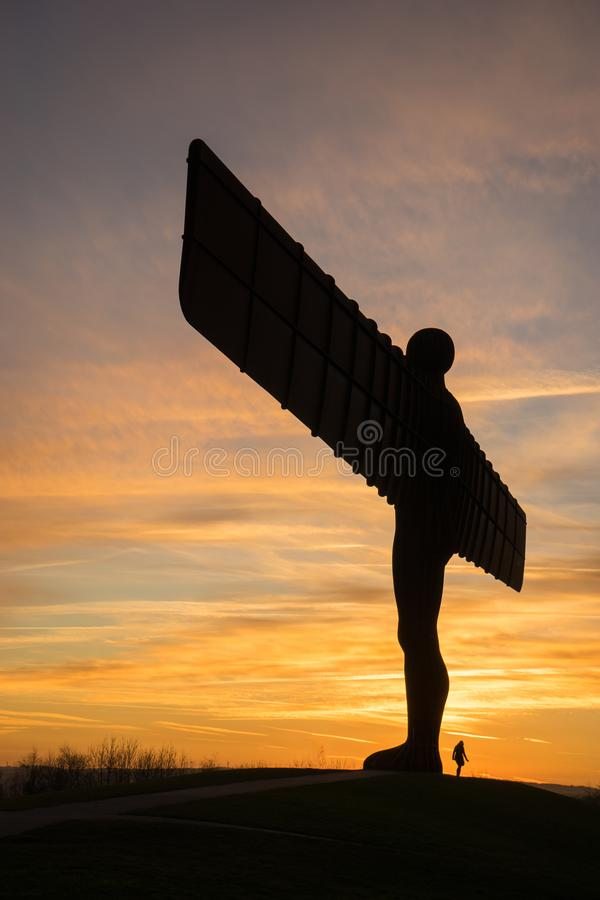 Angel of the North - sunset royalty free stock image