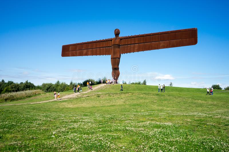 Angel of the North. The Angel of the North, Gateshead, is a steel sculpture by Antony Gormley which stands 66 feet high with a wing span of 177 feet. The sky is stock photos