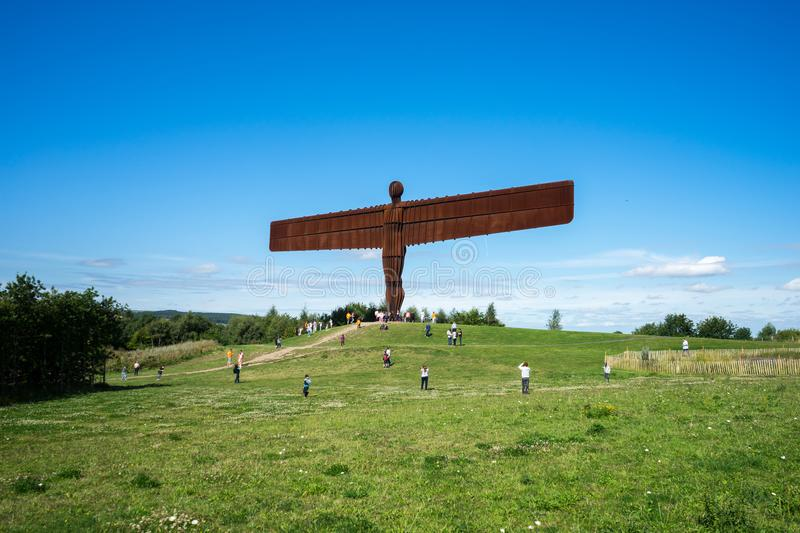 Angel of the North. The Angel of the North, Gateshead, is a steel sculpture by Antony Gormley which stands 66 feet high with a wing span of 177 feet. The sky is royalty free stock photos