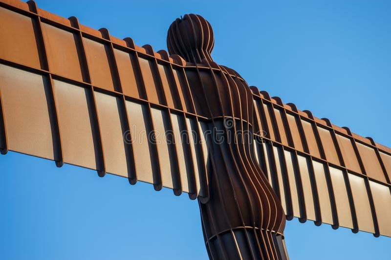 Angel of the North. Looking up at the Angel of the North, Gateshead. A steel sculpture by Antony Gormley which stands 66 feet high with a wing span of 177 feet stock image