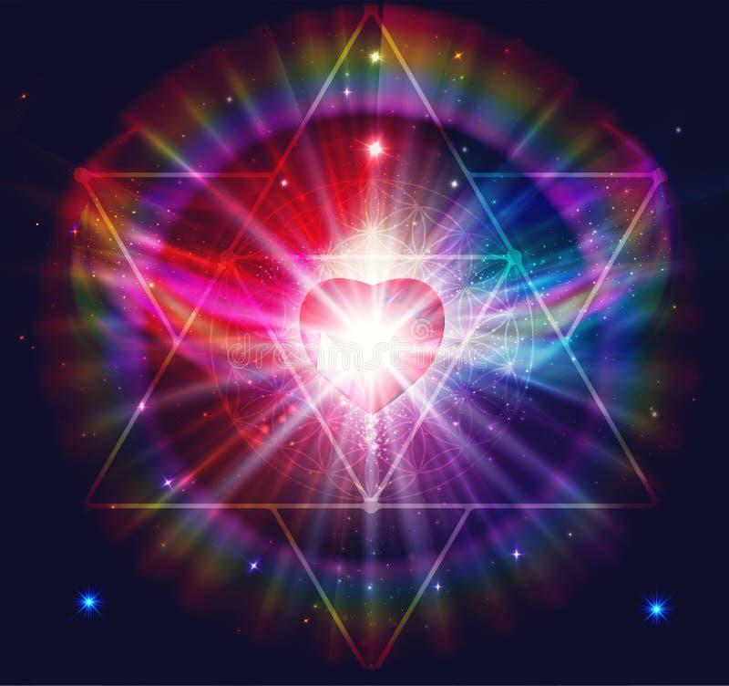 Free Angel Of Light And Love Doing A Miracle, Rainbow Power Energy, Mer Ka Ba, Diamond Heart Royalty Free Stock Images - 208055559