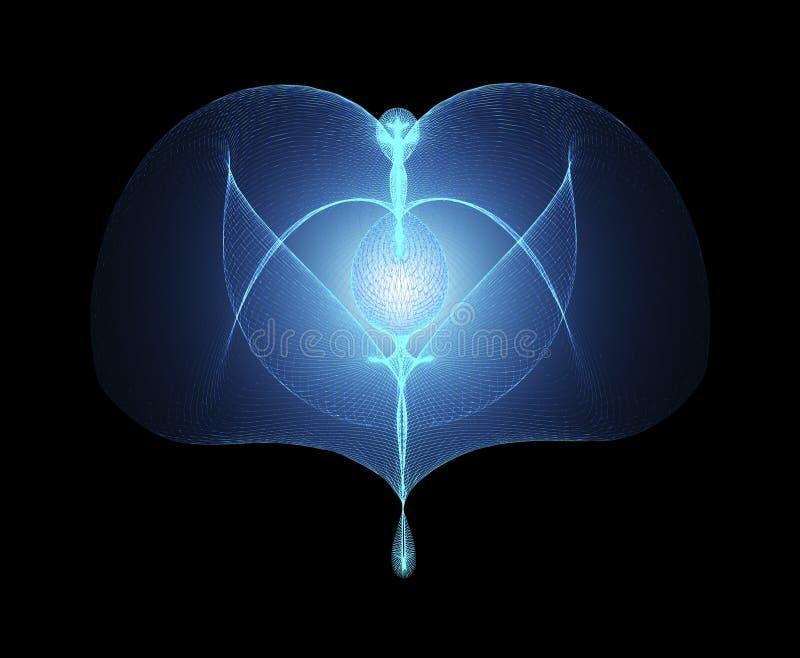 Angel With Open Wings Rising de incandescência no fundo preto E ilustração do vetor