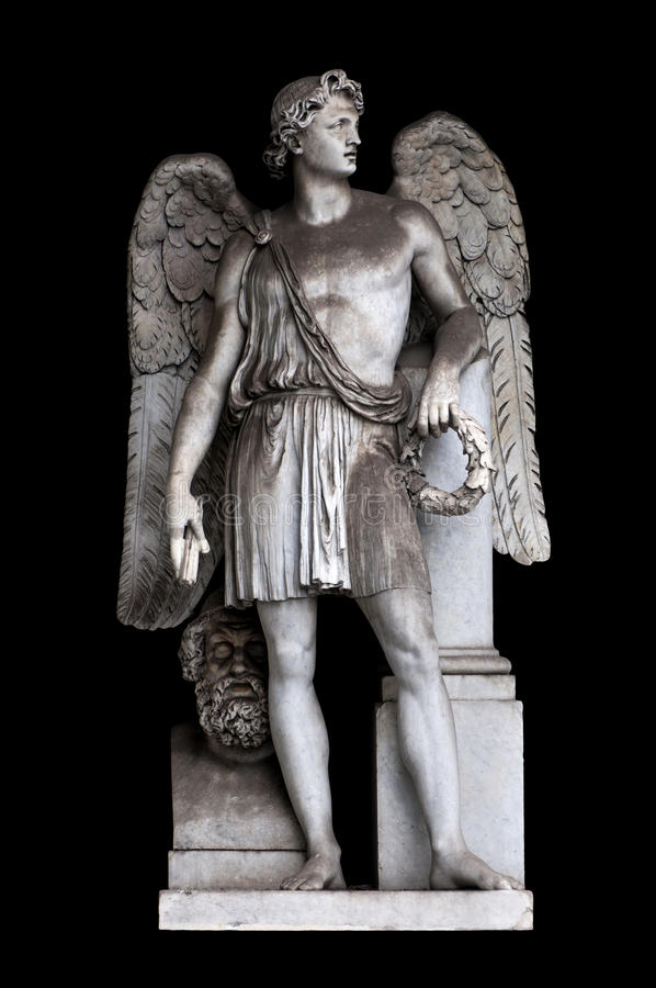 Angel of peace. By Alessandro Massimiliano Laboureur in Pincio's Nymphaeum, Rome Italy royalty free stock image