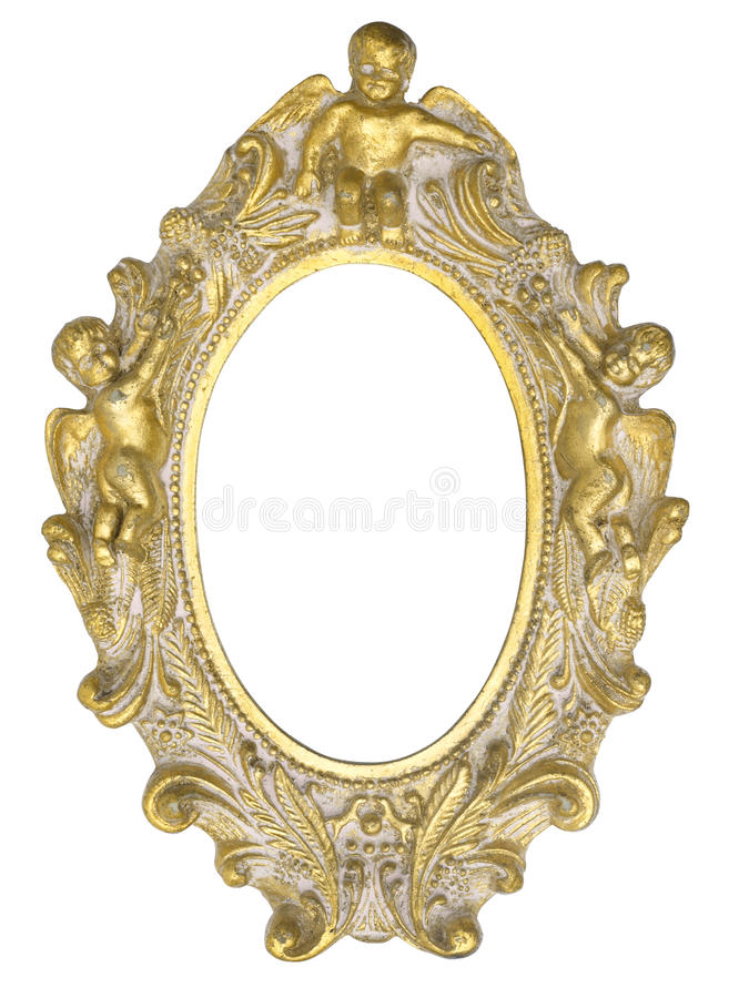 Angel picture frame. A golden picture frame with ornaments and angels royalty free stock image