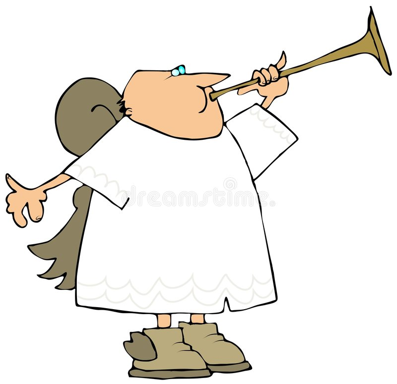 Angel Playing A Brass Horn royalty free illustration
