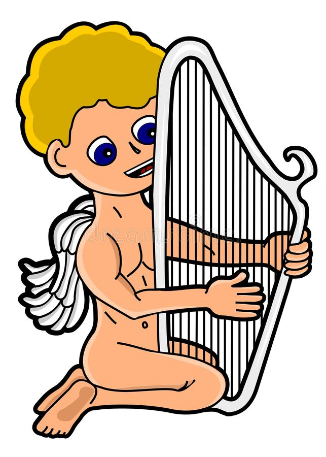 Angel playing the harp stock photography