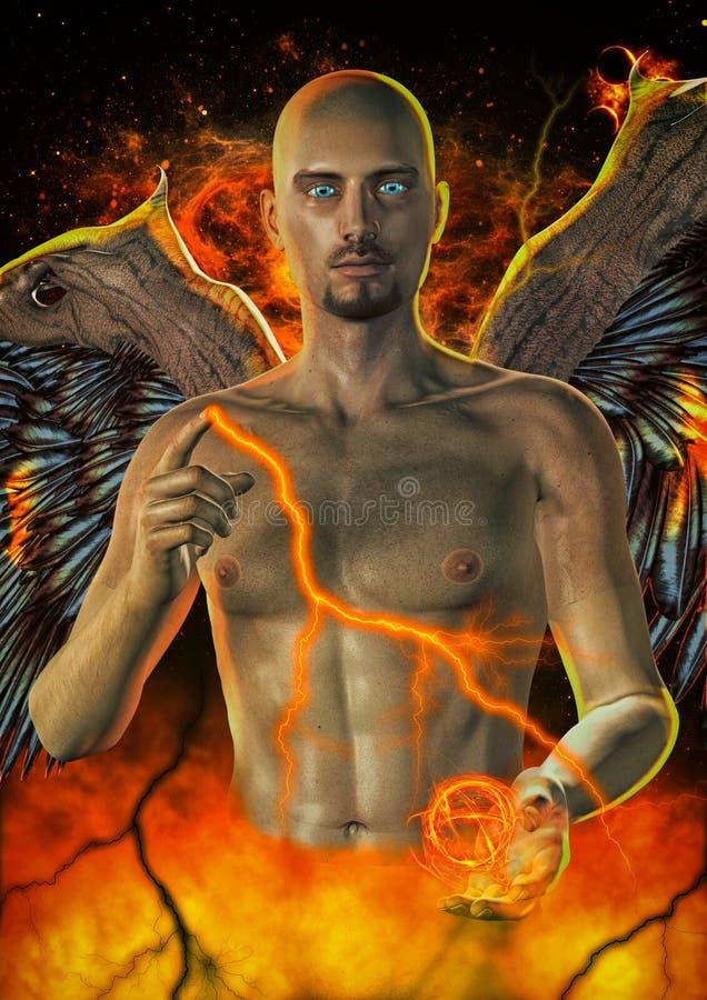 Angel Portrait de queda ilustração stock