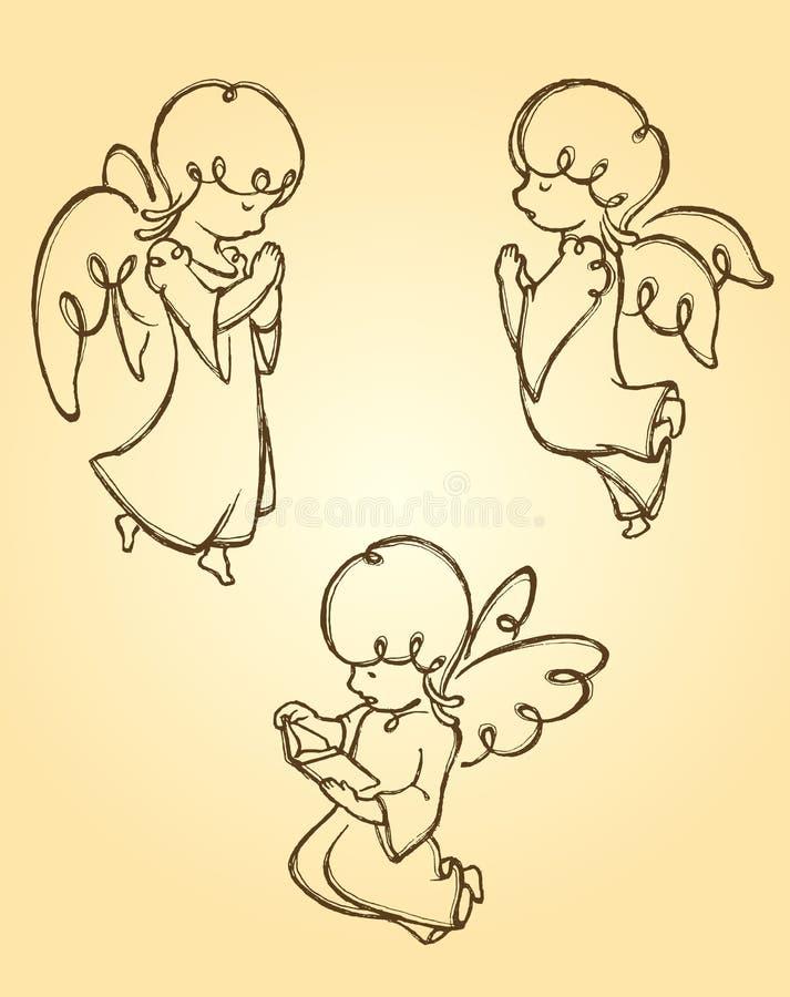 Angel Pray Sketch ilustração do vetor