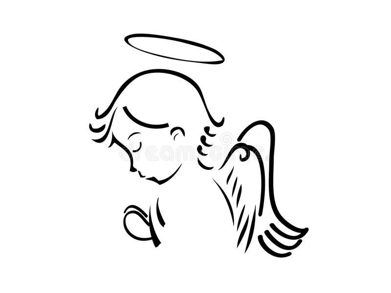 Angel praying. Angel with wings praying with love stock illustration