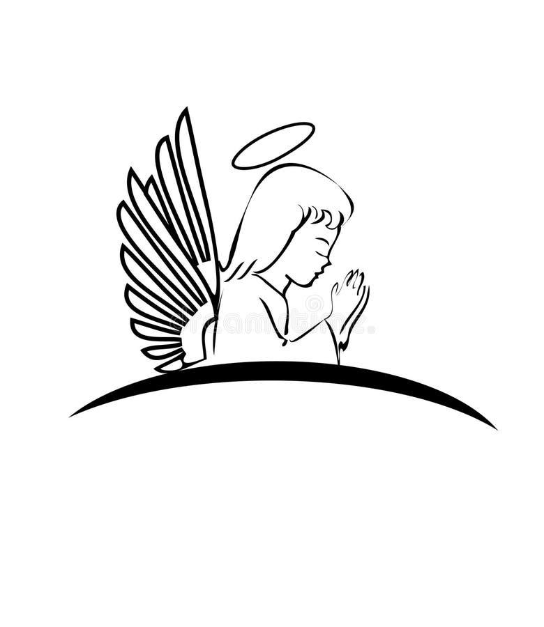 Angel praying logo. Angel praying creative design logo royalty free illustration