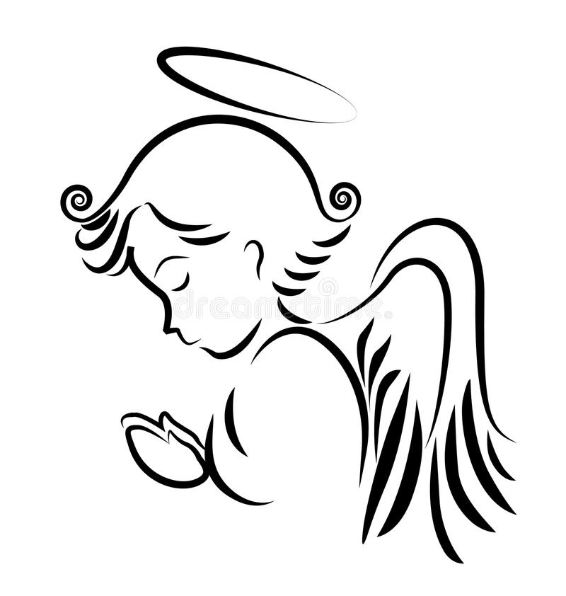 Angel praying logo. Angel praying silhouette faith and meditation royalty free illustration