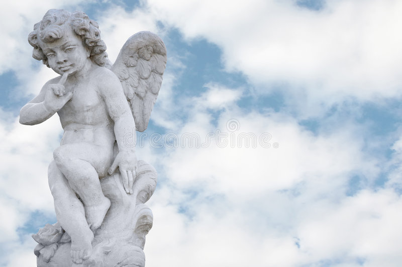 Angel with pretty sky stock images