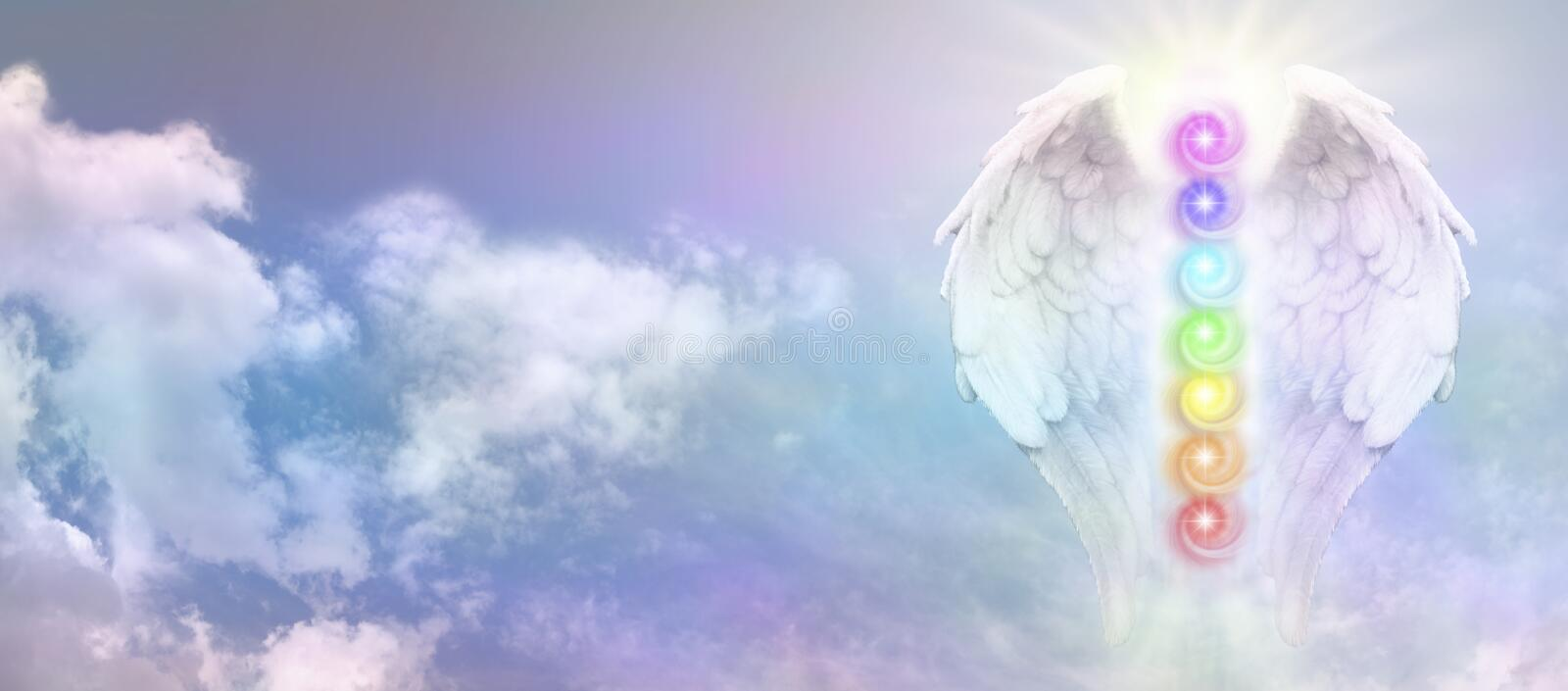 Angel Reiki Wings and Seven Chakra Vortexes royalty free stock photo