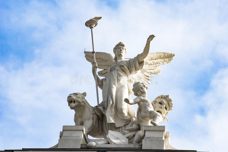 Angel on roof Opera Zurich stock images
