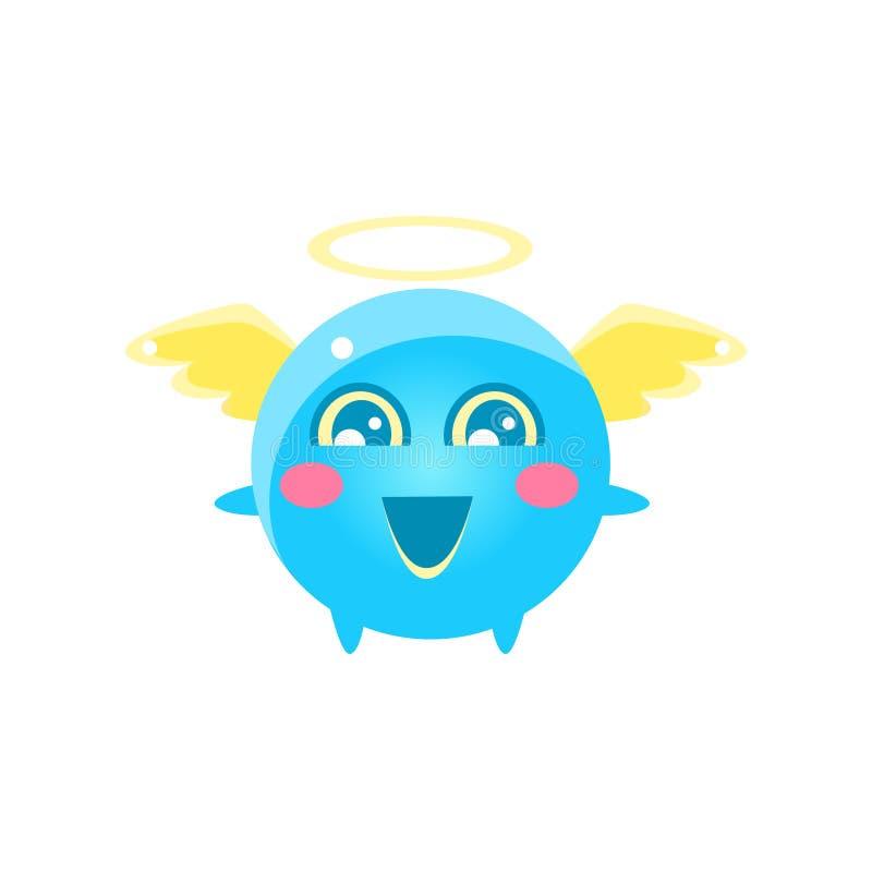 Angel Round Character Emoji illustrazione vettoriale