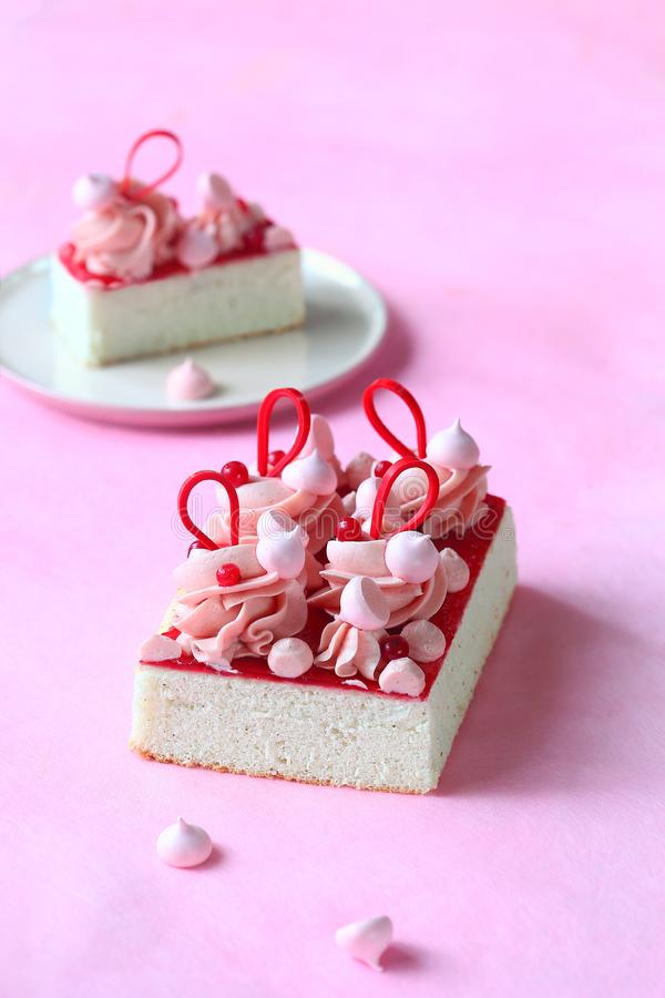Angel`s Food Cake with Red Currant Jam and Mousseline Cream royalty free stock photography
