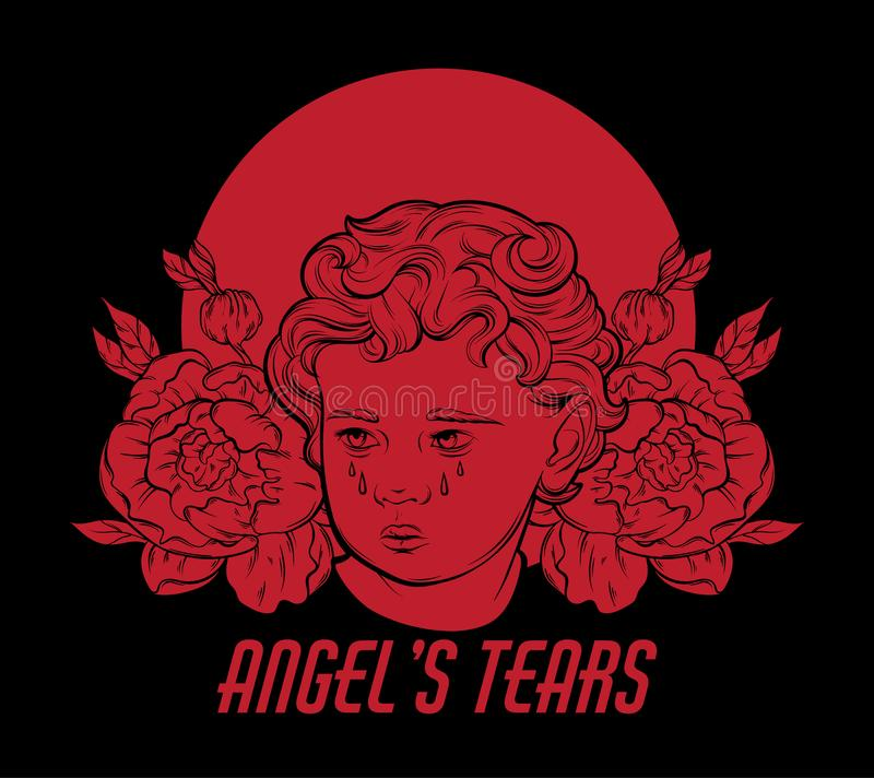 Free Angel`s Tears. Vector Hand Drawn Portrait Of Cupid With Flowers And Nimbus Isolated. Stock Photography - 117642712