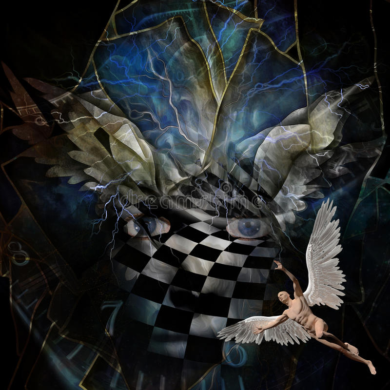 Angel`s wings. Surrealism. Angel`s wings. Face in checkered pattern. Naked man with wings represents angel. Spiral of time vector illustration