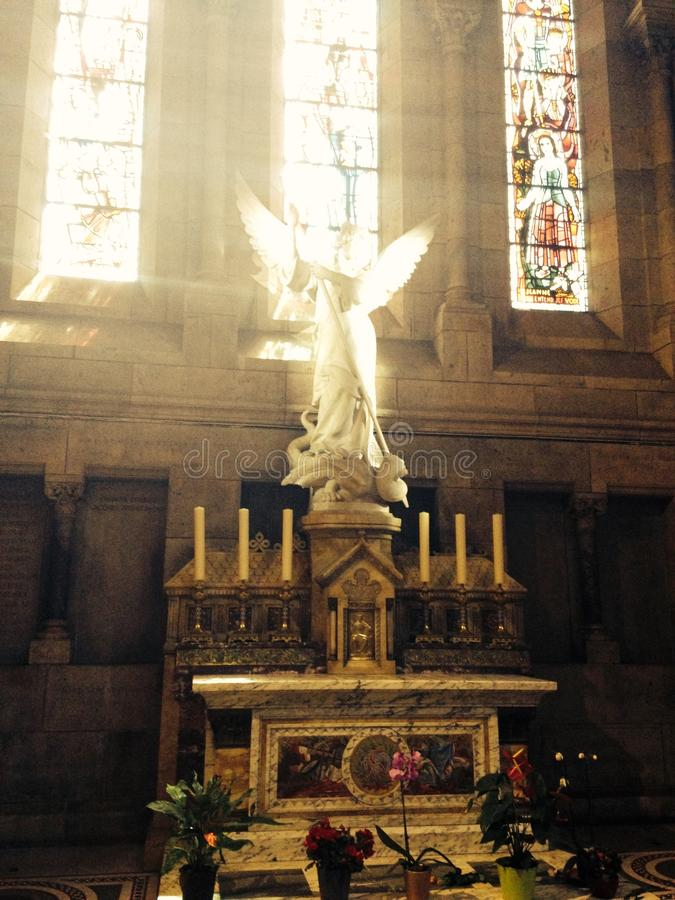 Angel Sacre Coeur Paris Church stock photo