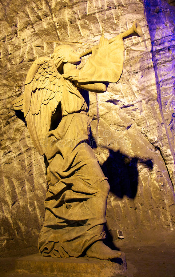 Angel in the Salt cathedral in Zipaquira Colombia stock image