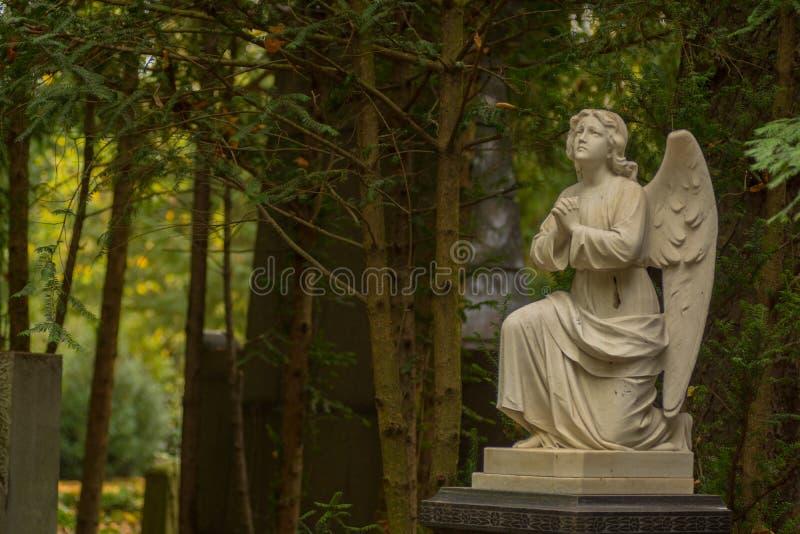 Angel Sculpture en cementerio foto de archivo libre de regalías