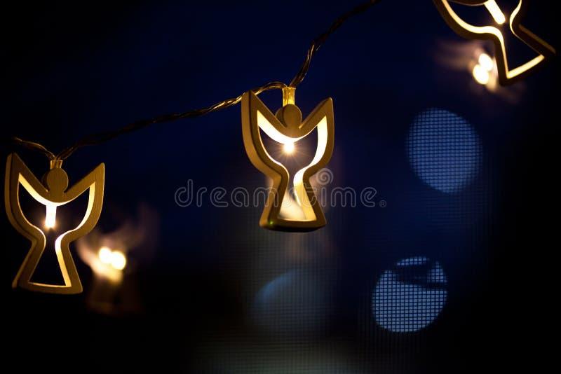 angel shaped christmas lights vector illustration