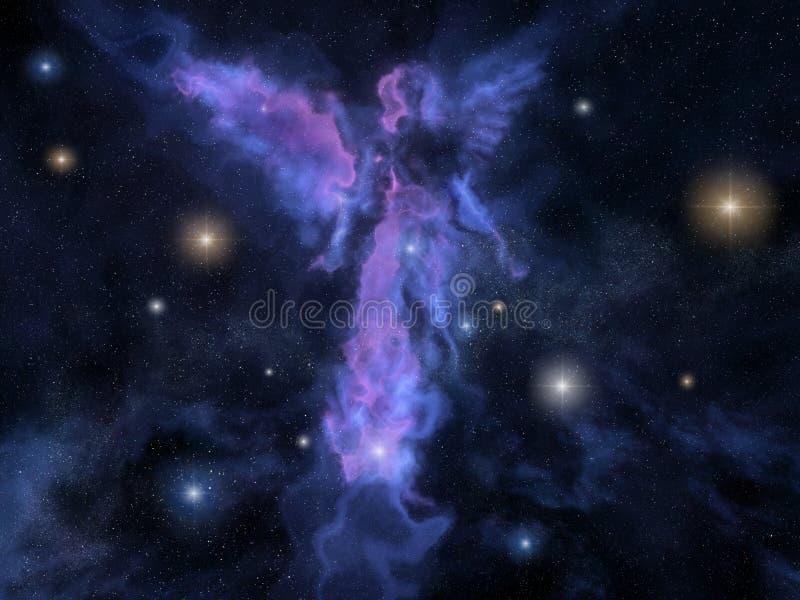 Angel shaped nebula vector illustration