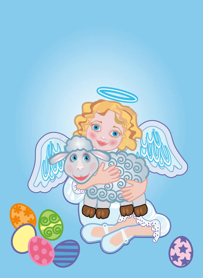 Angel with a sheep royalty free illustration