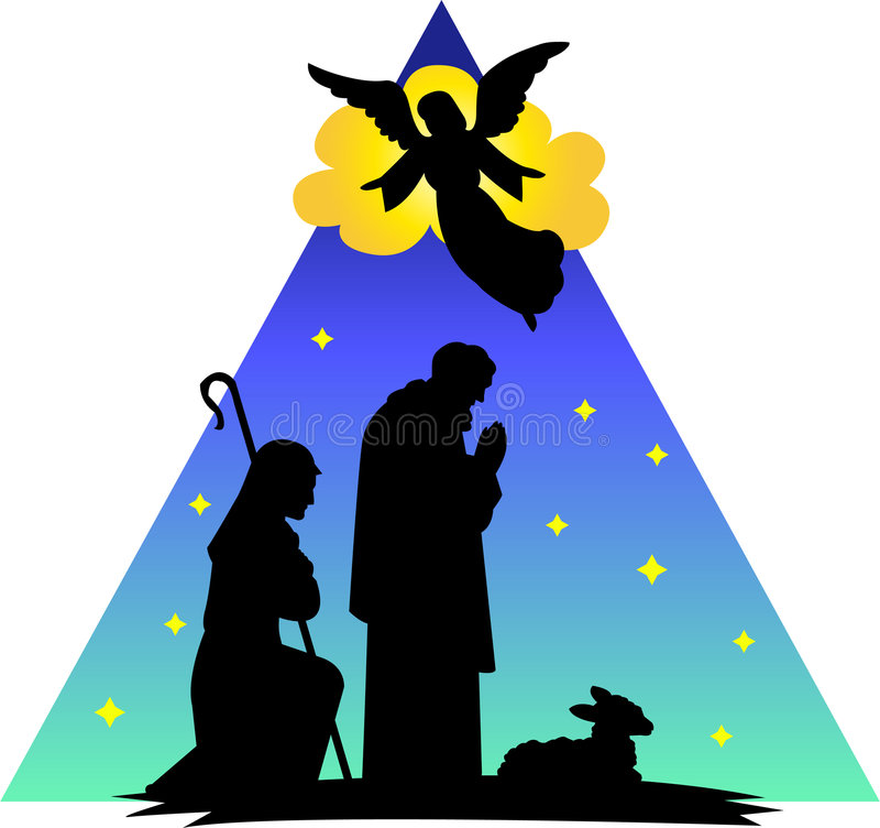 Angel Shepherds Silhouette/eps vector illustration