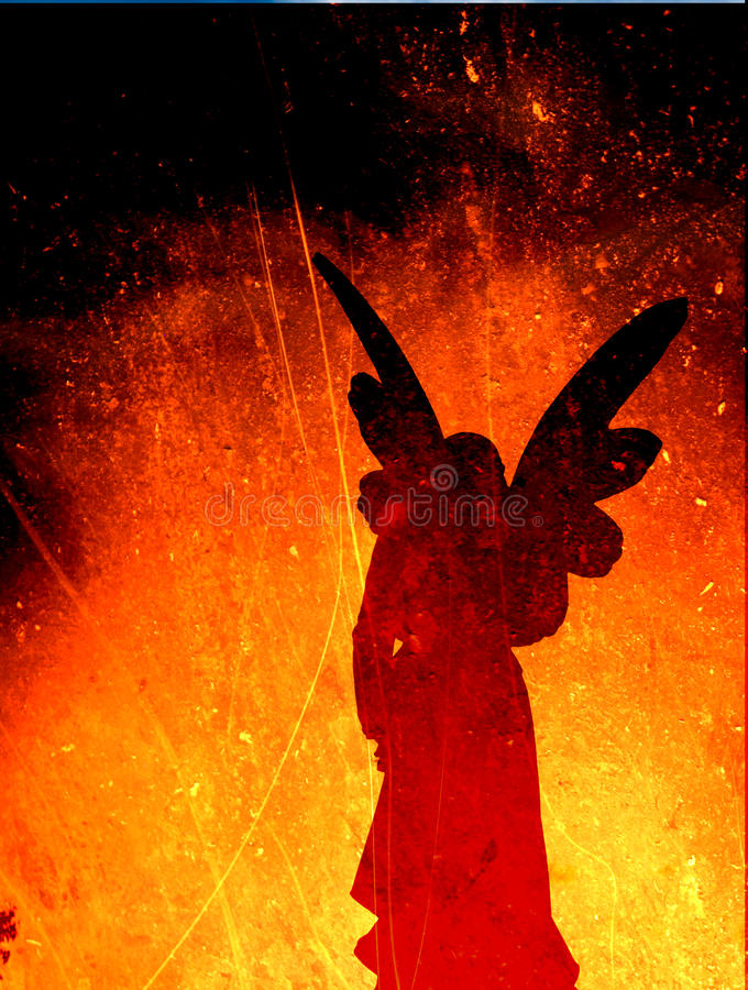 Angel Silhouette on a Fire Texture stock illustration