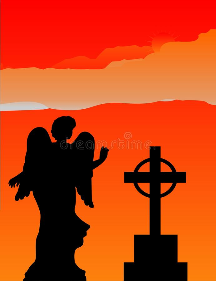Angel silhouette in the firey sky... vector illustration
