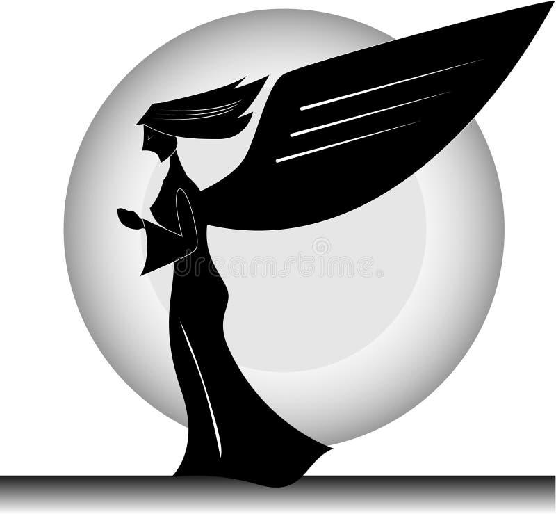 Angel Silhouette Praying stock de ilustración