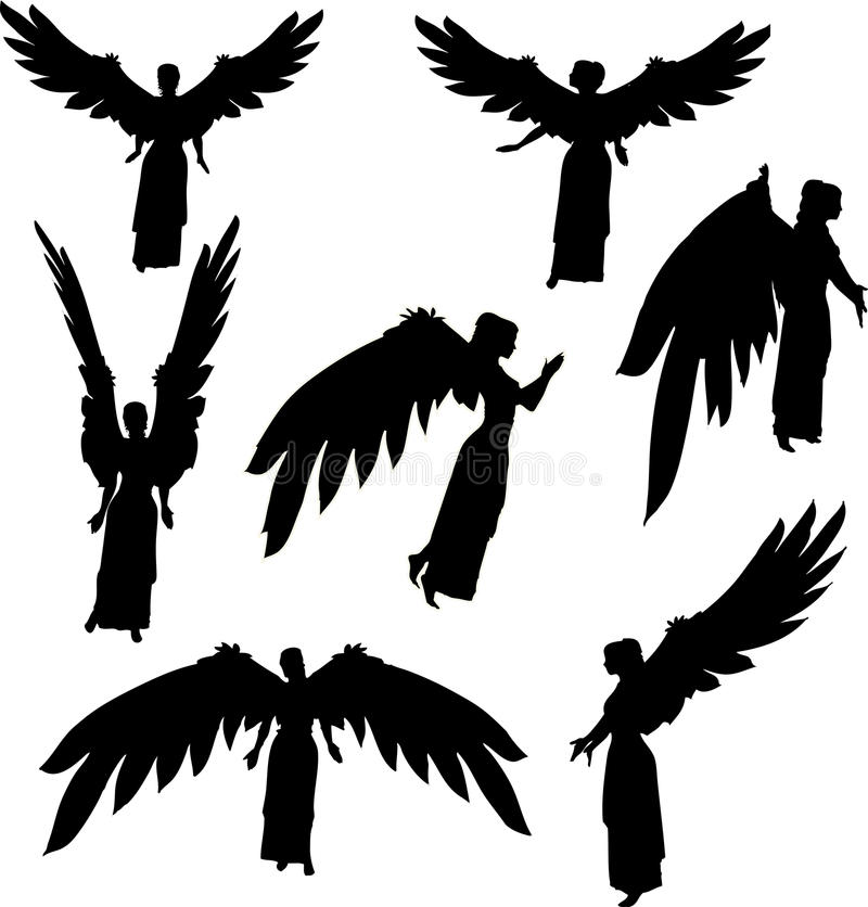 Angel silhouettes vector illustration