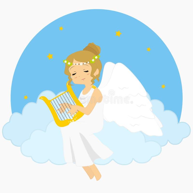 Angel Sitting sur des nuages jouant l'illustration de vecteur d'harpe illustration de vecteur