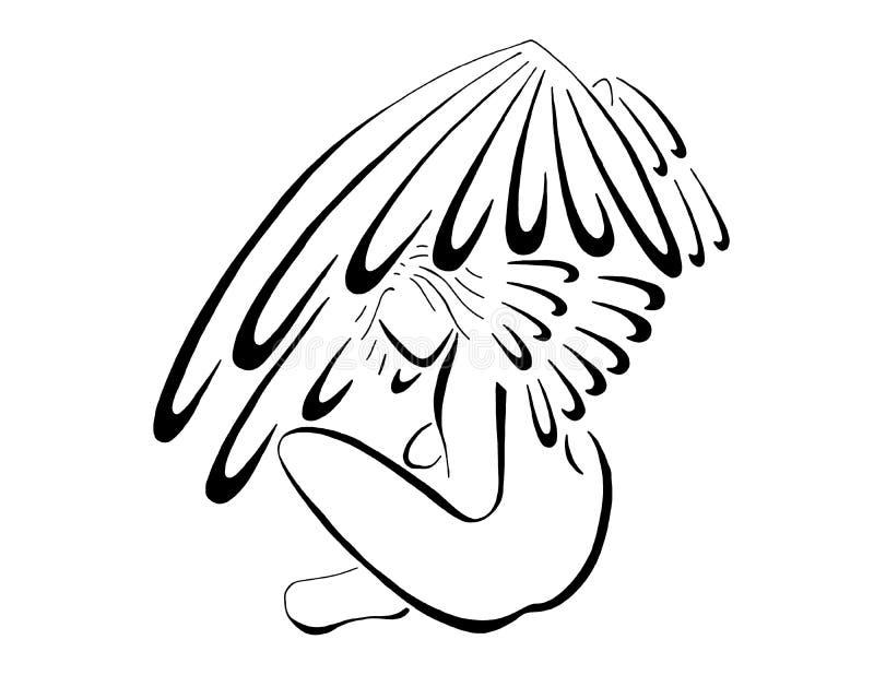 Angel Sitting With Wings Flared, linea arte stilizzata illustrazione di stock