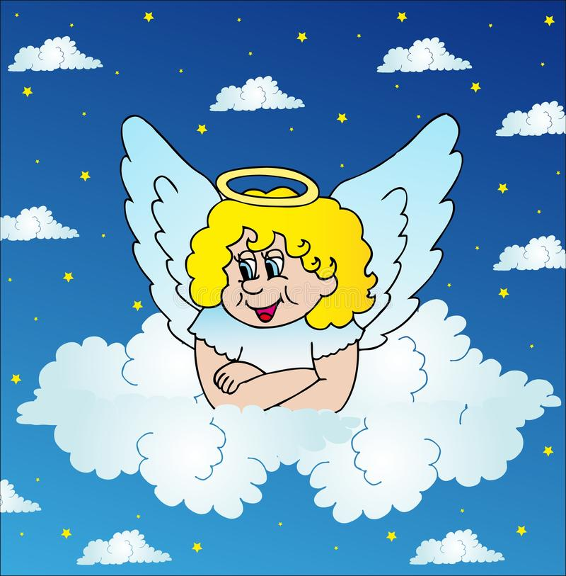 Angel on sky vector illustration