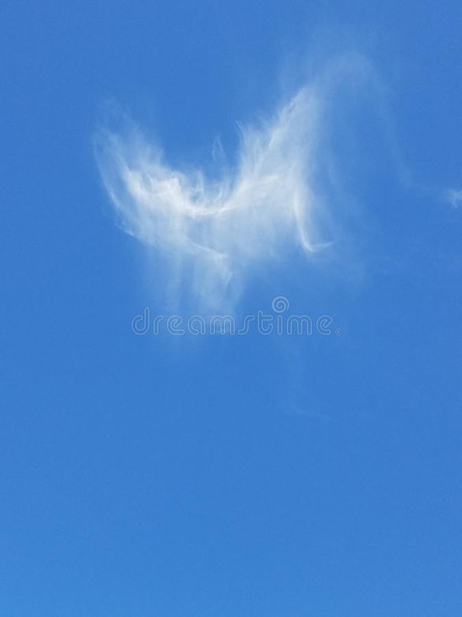 Angel in the sky. Cloud of an angel against blue sky stock photography