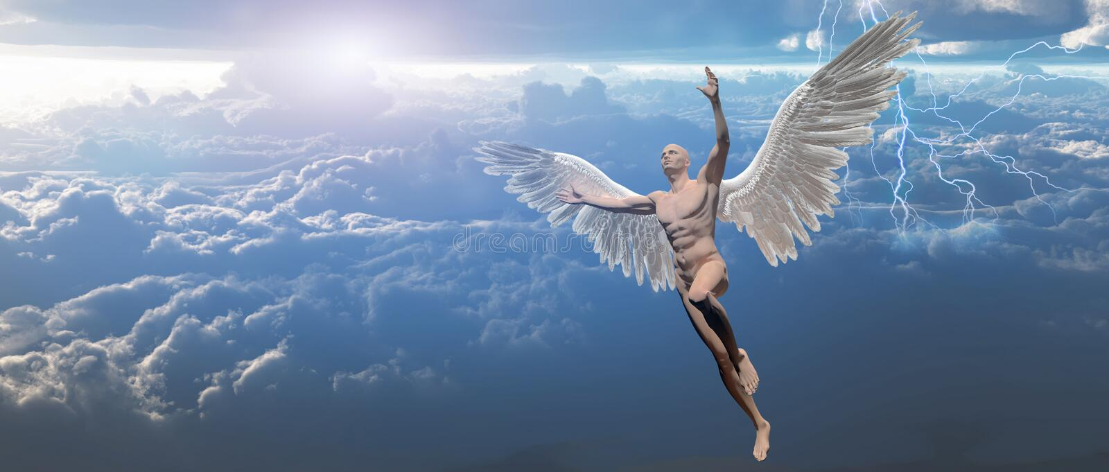 Angel in the sky. Surrealism. Man with angel`s wings flies in cloudy sky. Human elements were created with 3D software and are not from any actual human vector illustration