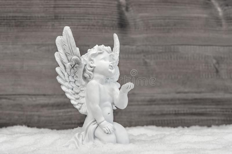 Angel snow Little white cherub Christmas decoration royalty free stock images
