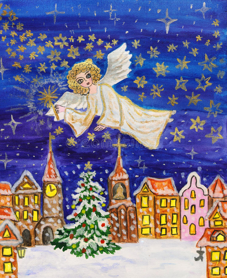 Download Angel With Sparkler, Christmas Picture Stock Illustration - Illustration: 27639133