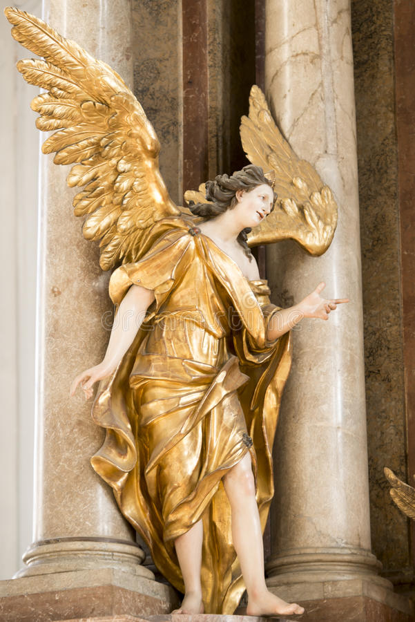 Angel in St. Peters Church Munich stock photography