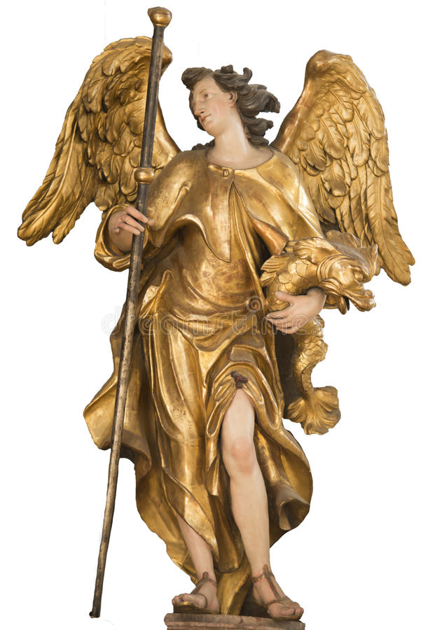 Golden Angel, baroque wooden angel painted with gold in St. Peter's Church, Munich stock image