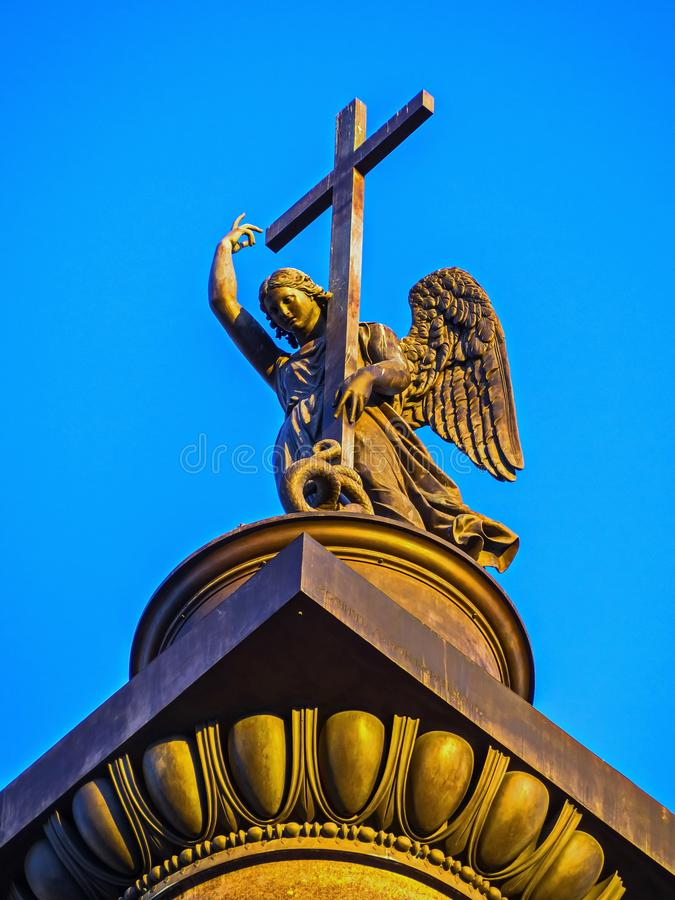 The angel of St. Petersburg on Palace square. stock photo