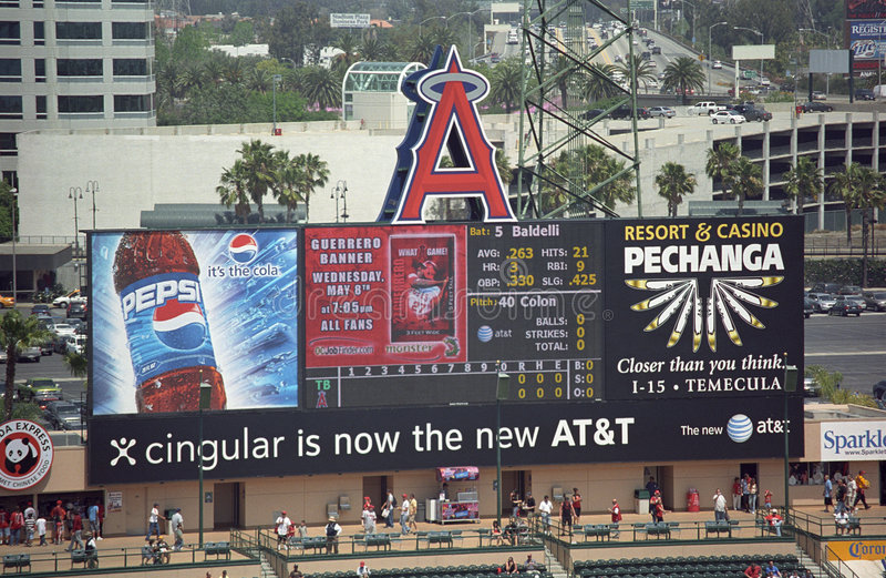 Angel Stadium Of Anaheim Scoreboard Editorial Stock Photo