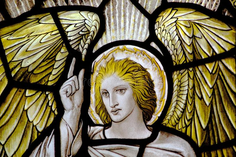 Angel Stained Glass Window. Stained glass window, Old St Pauls, Wellington, New stock image