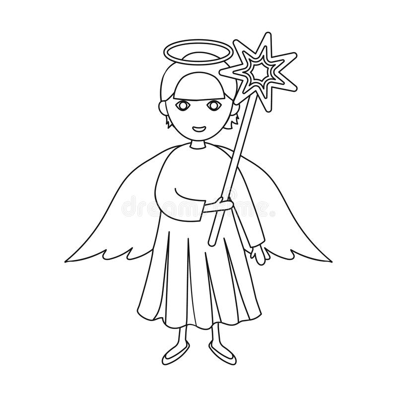 Angel with a star single icon in outline style for design.Christmas vector symbol stock illustration web. royalty free illustration